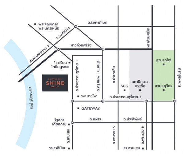 แผนที่โครงการแชปเตอร์วัน ชายน์ บางโพ