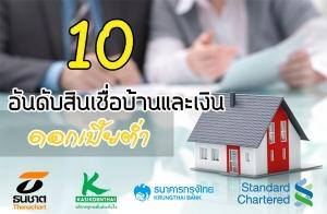 ส่อง 10 อันดับสินเชื่อบ้านและเงิน ดอกเบี้ยต่ำที่ยังมีผลบังคับใช้ในปัจจุบัน เพื่อเข้ามาช่วยเพิ่มสภาพคล่องทางการเงิน