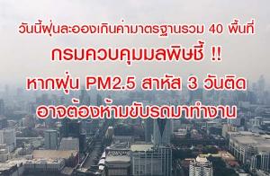 วันนี้ฝุ่นละอองมากกว่าเมื่อวาน เกินค่ามาตรฐานรวม 40 พื้นที่ กรมควบคุมมลพิษชี้ !! หากฝุ่น PM2.5 สาหัส 3 วันติด อาจต้องห้ามขับรถมาทำงาน