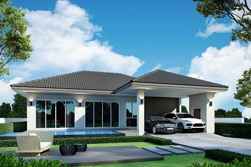 บ้านเดี่ยวชั้นเดียว โครงการใหม่ ออกแบบสไตน์โมเดิร์น ห้วยใหญ่